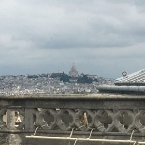 View of Sacre Coeur Basilica atop Montmartre. We stayed a few blocks downhill from the basilica on the backside.