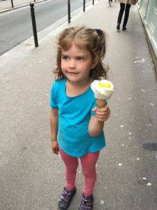 See this girl? Glad. Her gelato is not only utterly delish, it is in the shape of a flower.